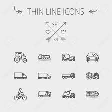 Transportation Thin Line Icon Set For Web And Mobile. Set Includes ...