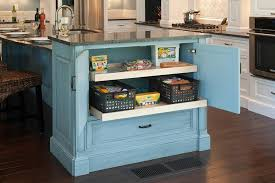 Kitchen Island Rustic Blue White Wooden Cabinet Storage Dark Hardwooden Floor Marble Top Design