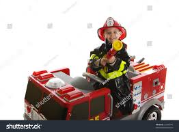 Expressive Cute Toddler Firemans Outfit On Stock Photo (Edit Now ...