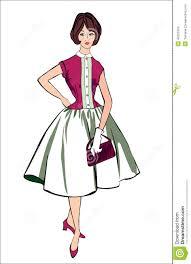 50s Vintage Dress Clipart 1
