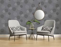 wohnzimmer tapete mit modernem kreismuster grau
