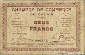 chambre de commerce de calais 2 francs regionalism and miscellaneous calais 1914 jp