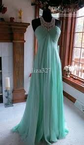 Fashion Evening Dresses Alencon Lace Beading Mint Green Chiffon Pageant Prom Gown