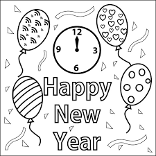 Happy New Year Coloring Page
