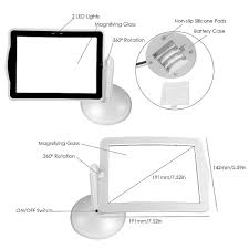 Lighted Full Page Magnifier Lamp by Handsfree 3x Reading Full Page Magnifier 2led Magnifying Wallfire