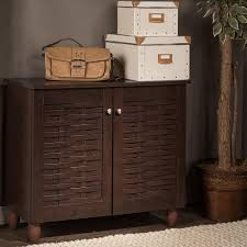 Baxton Studio Shoe Storage by Baxton Studio Winda Dark Brown Wood Storage Cabinet 28862 6513 Hd