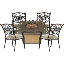 Hanover Traditions 5-Piece Patio Fire Pit Chat Set With 4 Cushioned ... Hanover Summer Nights 5piece Patio Fire Pit Cversation Set With Amazoncom Summrnght5pc Zoranne 4 Chairs Livingroom Table With Outdoor Gas And Tables Sets Fniture Fresh Ding Shop Monaco 7piece Highding 6 Swivel Rockers And A The Greatroom Company Kenwood Linear Height Alinum Cheap Chair Beautiful Comet 8 Wicker Chat Tank Awesome Top 10 Envelor Oval Brown 7 Piece Poker Stunning