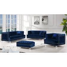 100 1 Contemporary Furniture 3pcs Set Living Room Tufted Velvet Fabric Navy Finish Sofa Loveseat Chair NEW