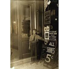 Young Greek Boy Outside Of His New York Shop Which Offices Hat Blocking Shoe Shines And Has A Sign For Dining Room Upstairs Poster Print