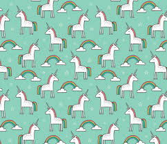 Cute Unicorn Rainbow In Mint Fabric By Caja Design On Spoonflower