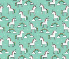 Cute Unicorn Rainbow In Mint Fabric By Caja Design On Spoonflower