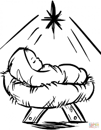 Download Coloring Pages Baby Jesus Christmas Ba In A Manger Page