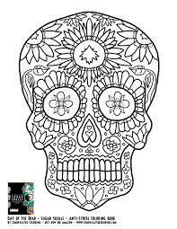 Day Of The Dead Sugar Skulls Complicated Coloring Free Adult