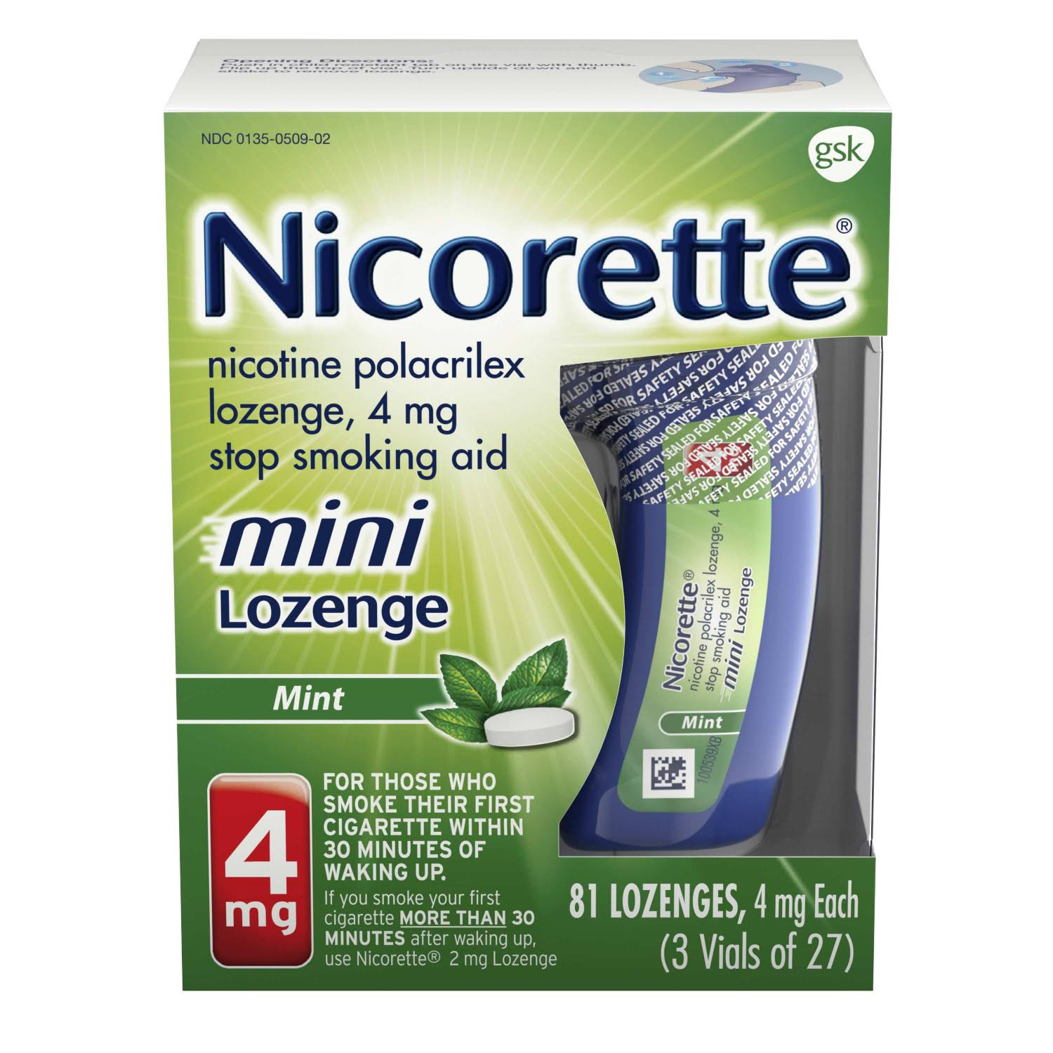 Gsk Nicorette Mini Lozenges - Mint, 4mg, 81ct