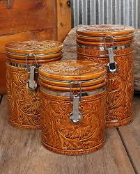 Tooled 3 Piece Canister Set Home Decor New Arrivals FEATURES Western Kitchen