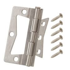 everbilt 3 in satin nickel non mortise hinges 2 pack 16120