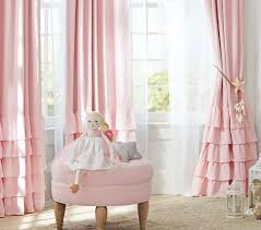 Pink Ruffled Window Curtains by Evelyn Linen Blend Ruffle Bottom Blackout Curtain Pottery Barn Kids