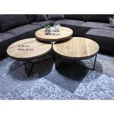 couchtisch eiche massiv rund gestell stahl ø 80cm höhe 40cm up möbel