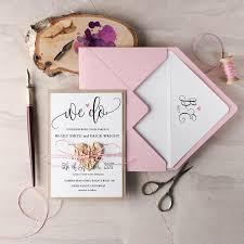 We Do Wedding Invitation Suite 20 Rustic Set Pink Invitations Wooden Heart Invites Blush