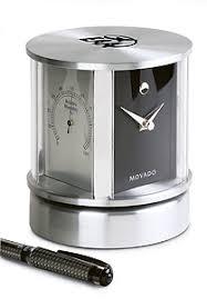 aluminum swivel desk clock with movado museum dial