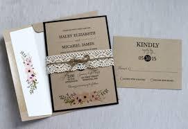 Rustic Wedding Invitation Lace Vintage Shabby Chic Kraft Modern