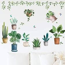 green plant wandaufkleber tanosan bonsai kaktus wand aufkleber diy wandtattoo für haus wohnzimmer schlafzimmer küche kinderzimmer