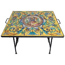 wrought iron table with ceramic tile top at 1stdibs