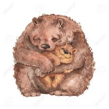 Mama Bear And Baby Watercolor Illustration Handmade Drawing Stock