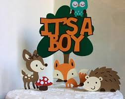 Woodland Baby Shower CakeTopper Cake Decoration Its A Boy