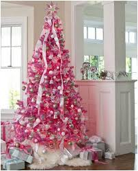 White Christmas Tree With Pink Decorations 9
