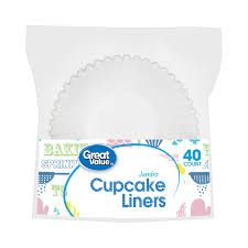 Great Value Jumbo Cupcake Liners White 40 Count