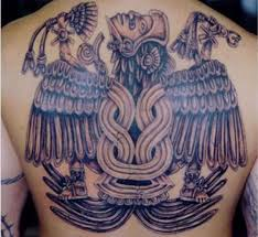 Mexican Aztec Grey Ink Tattoo On Back Body