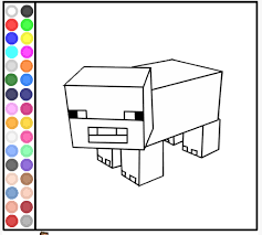 Minecraft Coloring Pages Game Of Pig