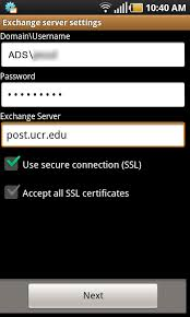 Exchange E mail Android Setup