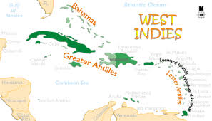 Print This Map The West Indies Is A Large Group Of Islands That Separate Caribbean Sea From Atlantic Ocean They Comprise Three Main Island Groups