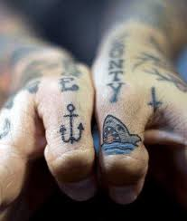 Amazing Mens Simple Hand Shark And Anchor Old Schol Tattoo Designs