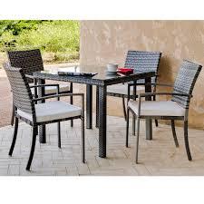 tables de jardin en resine salon de jardin 4 places en résine tressée avec plateaux en verre