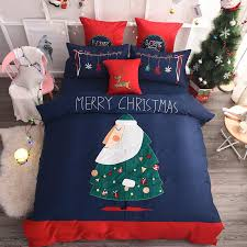 4 Embroidery Luxury Christmas Tree Bedding Set King Size Queen 80s Egyptian Cotton Bed Duvet Cover Sheet Comforter Covers California