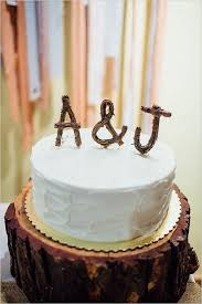 Simple Wedding Cake With Cute Wooden Topper