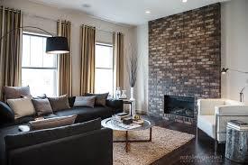 Stripes Brick & Metal Industrial Modern Living Room by Calgary