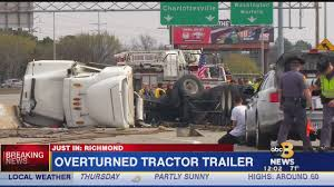 Overturned Tractor Trailer Closes Lanes On I-195 In Richmond