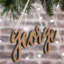 Christmas Tree Names by Personalised White Wood Christmas Tree Name Decoration By Bespoke