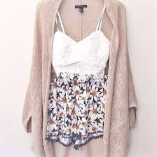 Pretty Outfit White Lace Top Floral Shorts And A Beige Cardigan