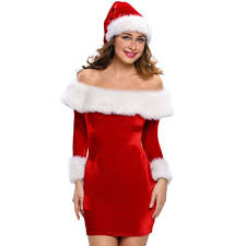 Christmas Winter Off Shoulder Fur Sleeve Santa Mini Dress Deevybuy