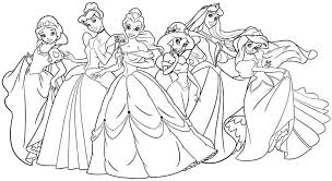 Free Download Coloring All Disney Princesses Together Pages About Stunning Printable Princess