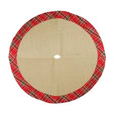 Northlight 20 In Brown Polyester Plaid Christmas Tree Skirt