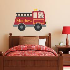 Firetruck Wall Decal Personalized - Boy & Name Wall Decal - Fire ...