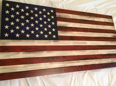 All American War Flag Rustic Wood Log Cabin Art