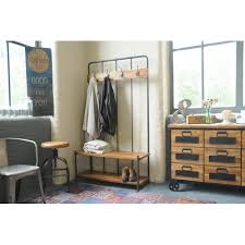 Industrial Living Hallway Coat Rack And Storage Bench Mango Wood Steel