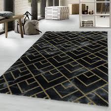 designer kurzflor wohnzimmer teppiche grau gold weich modern marmor optik 12 mm größe 240 x 340 cm farbe schwarz gold